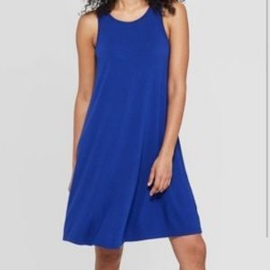 High neck blue swing dress